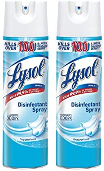 lysol disinfectant spray crisp linen 38oz 2x19oz